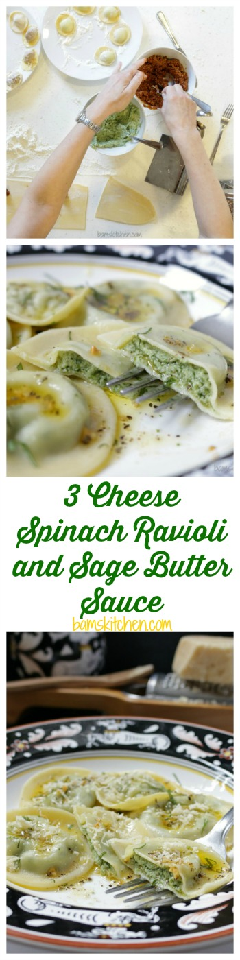 3 Cheese Spinach Ravioli and Sage Butter Sauce / http://bamskitchen.com
