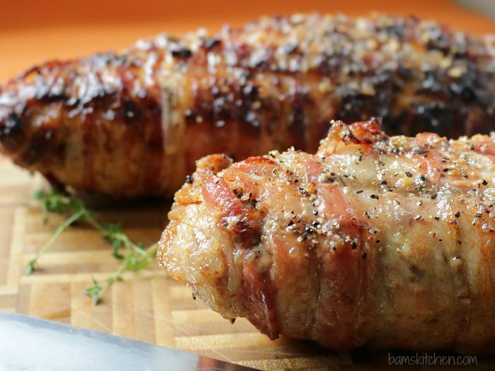 Bacon Wrapped Sausage Stuffed Pork / https://www.hwcmagazine.com