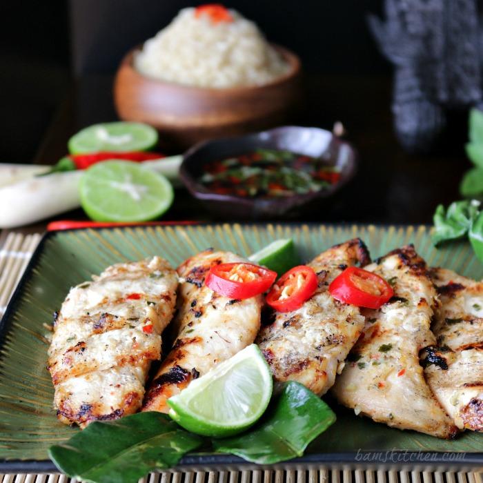Thai Grilled Chicken Tenderloins and Zesty Dipping Sauce / http://bamskitchen.com