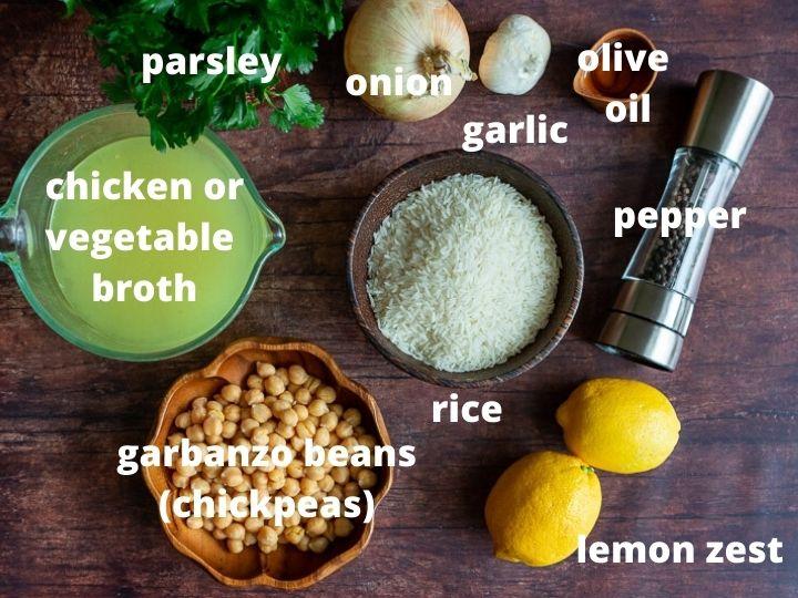 Ingredients to make the best Mediterranean rice.