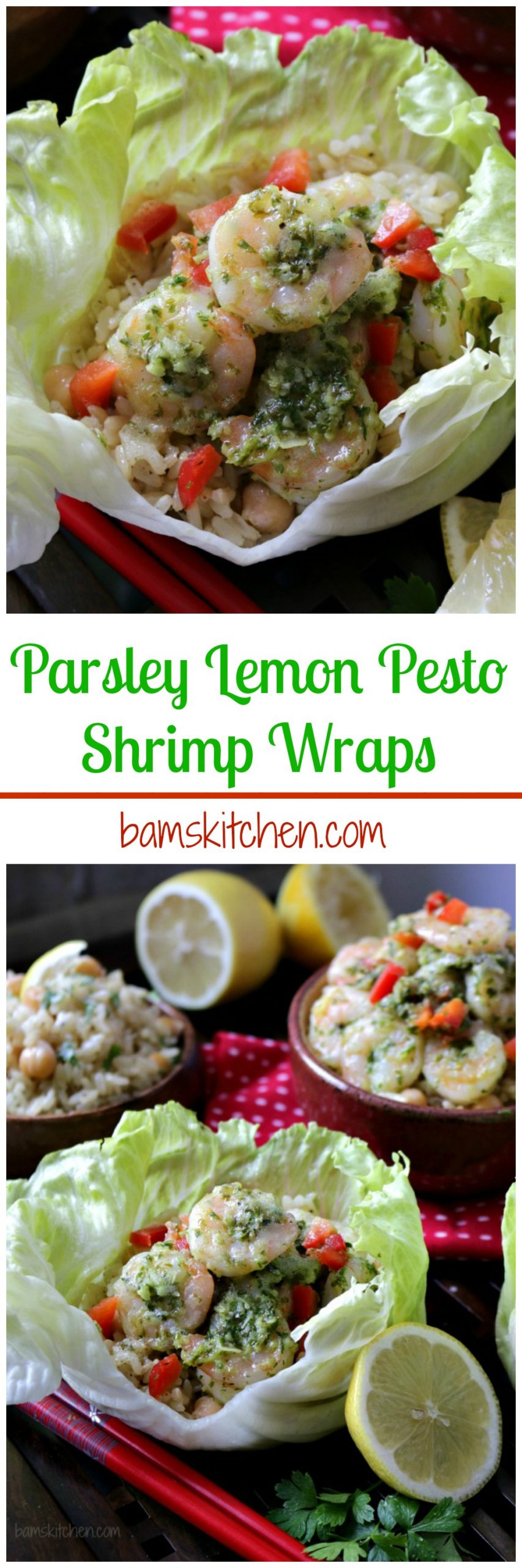 Parsley Lemon Pesto Shrimp Wraps / http://bamskitchen.com