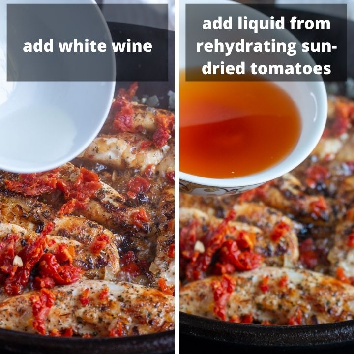 Add white wine and water from rehydrated sun-dried tomatoes to the cast iron skillet.