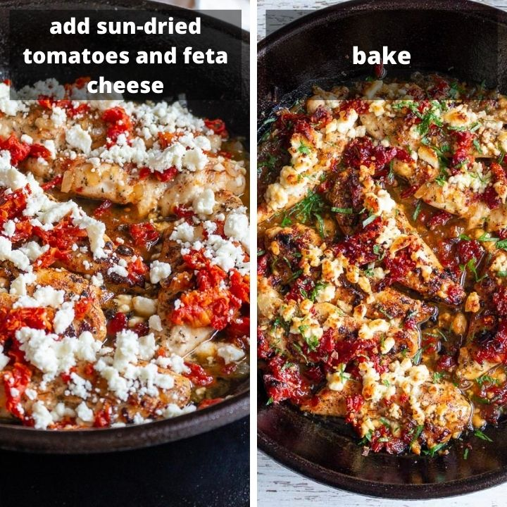 Add sun-dried tomatoes and feta cheese and bake.