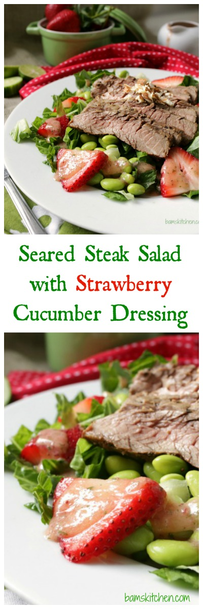 Seared Steak Salad with Strawberry and Cucumber Dressing / https://www.hwcmagazine.com