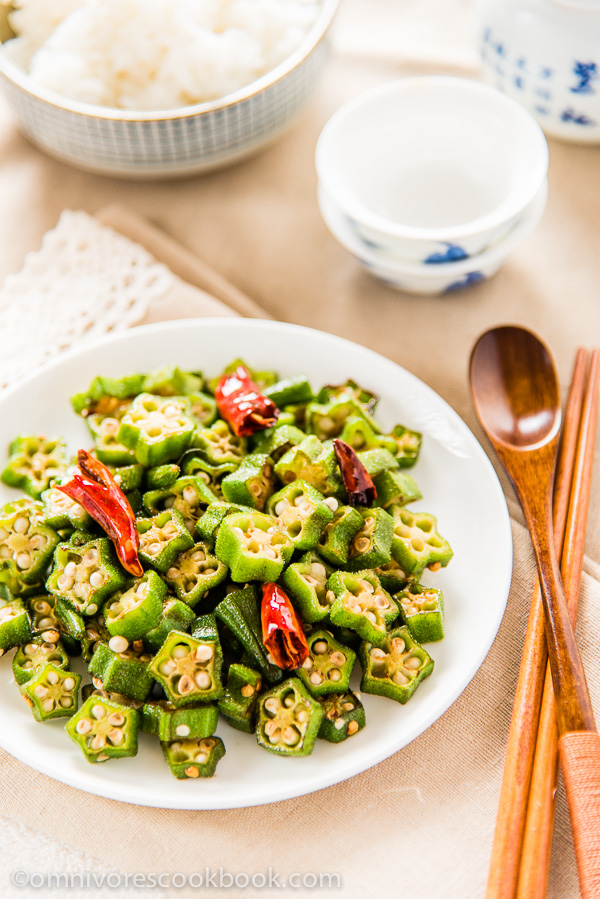Four Ingredient Okra Stir Fry Omnivore's Cook Book / http://bamskitchen.com