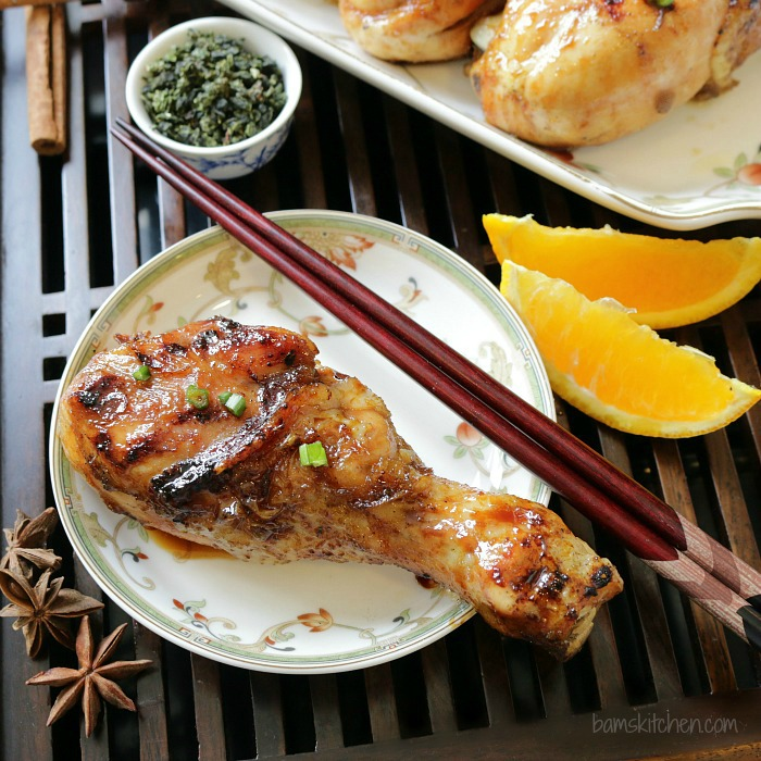 Smoked Chicken with chopsticks, anise and oolong tea