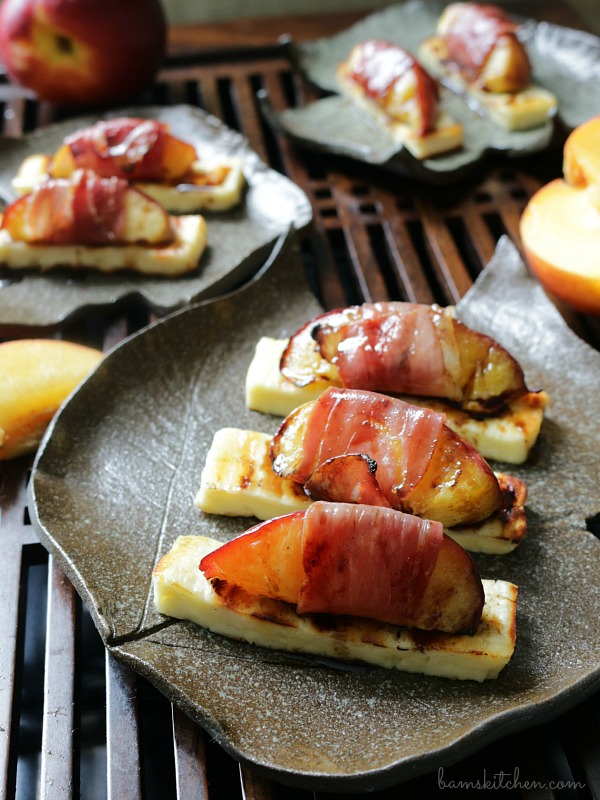 Chargrilled Halloumi Prosciutto Wrapped Nectarines and Balsamic Glaze / https://www.hwcmagazine.com