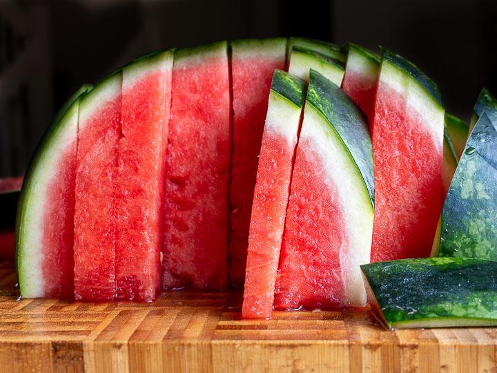 Watermelon cut into sticks.