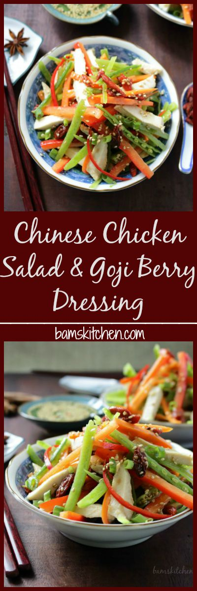 Chinese Chicken Salad & Goji Berry Dressing / http://bamskitchen.com