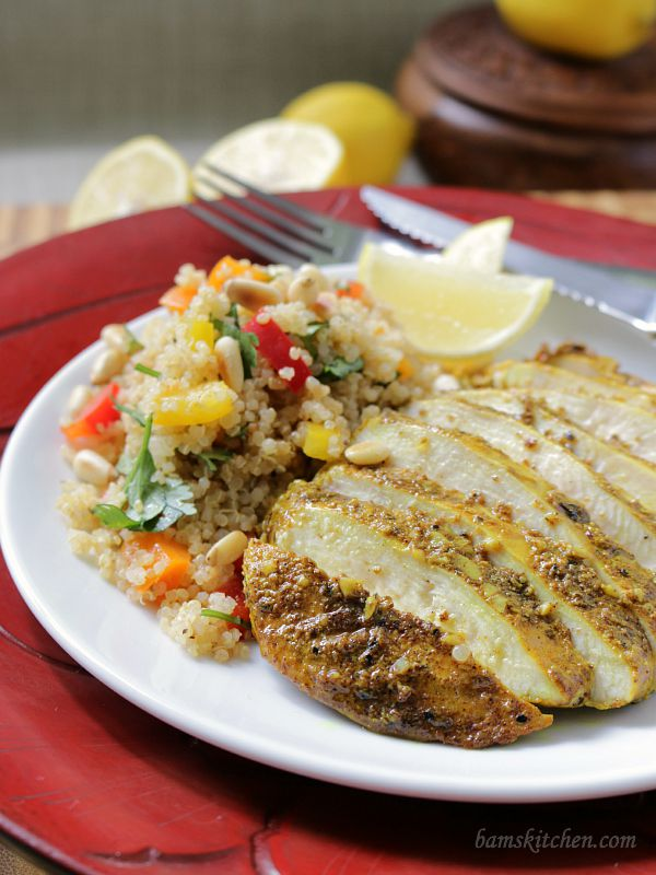 Moroccan Grilled Chicken and Pine Nut Quinoa Salad / https://www.hwcmagazine.com