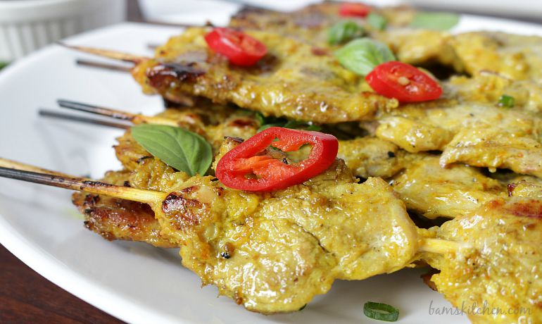 Turmeric Pork Skewers and Thai Basil Dipping Sauce_watermarked / http://bamskitchen.com