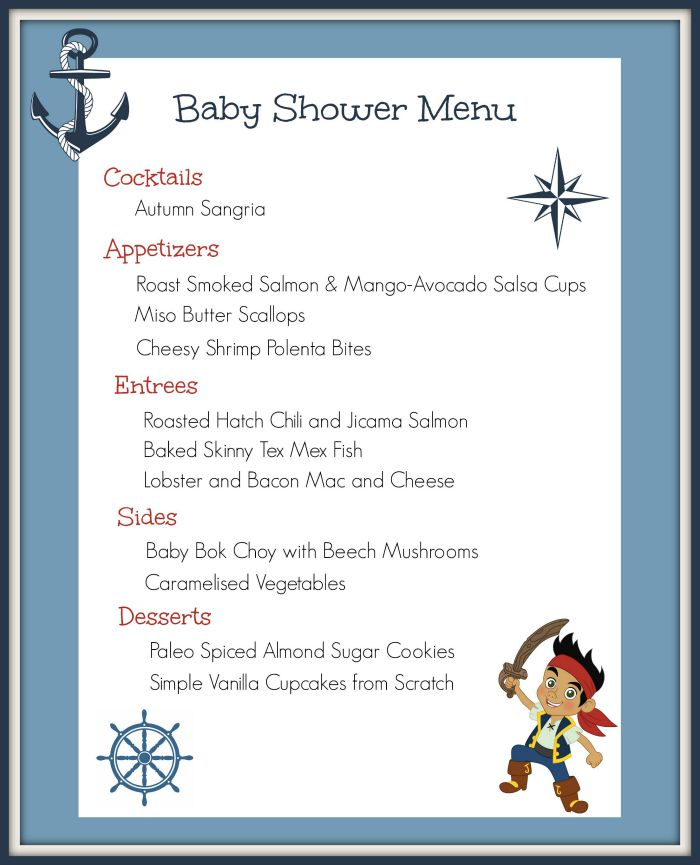 Menu Baby Shower / http://bamskitchen.com
