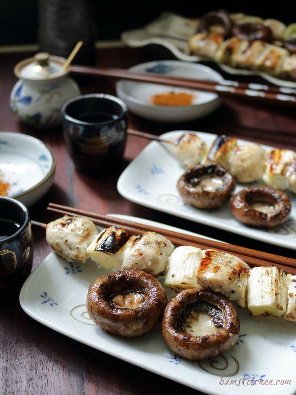 Negima Yakitori with Grilled Portobella / http://bamskitchen.com