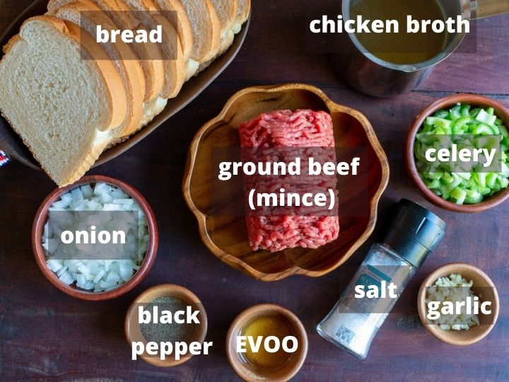Ingredients laid out on a wooden board.