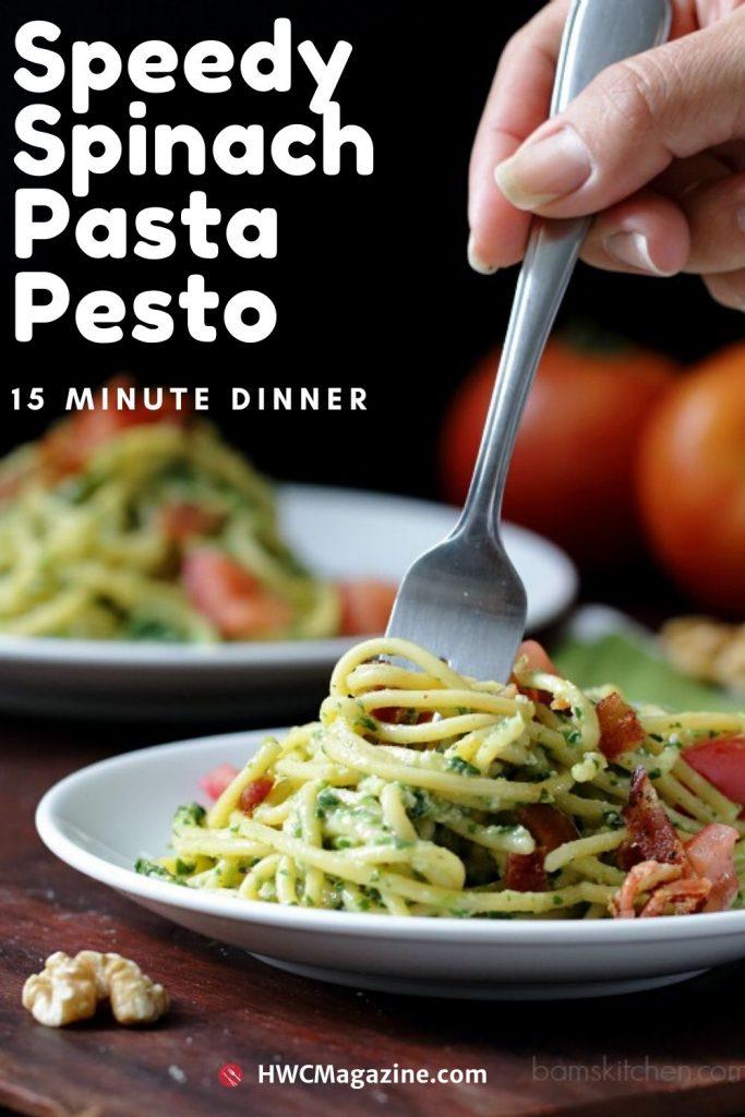Speedy Spinach Pasta Pesto / https://www.hwcmagazine.com