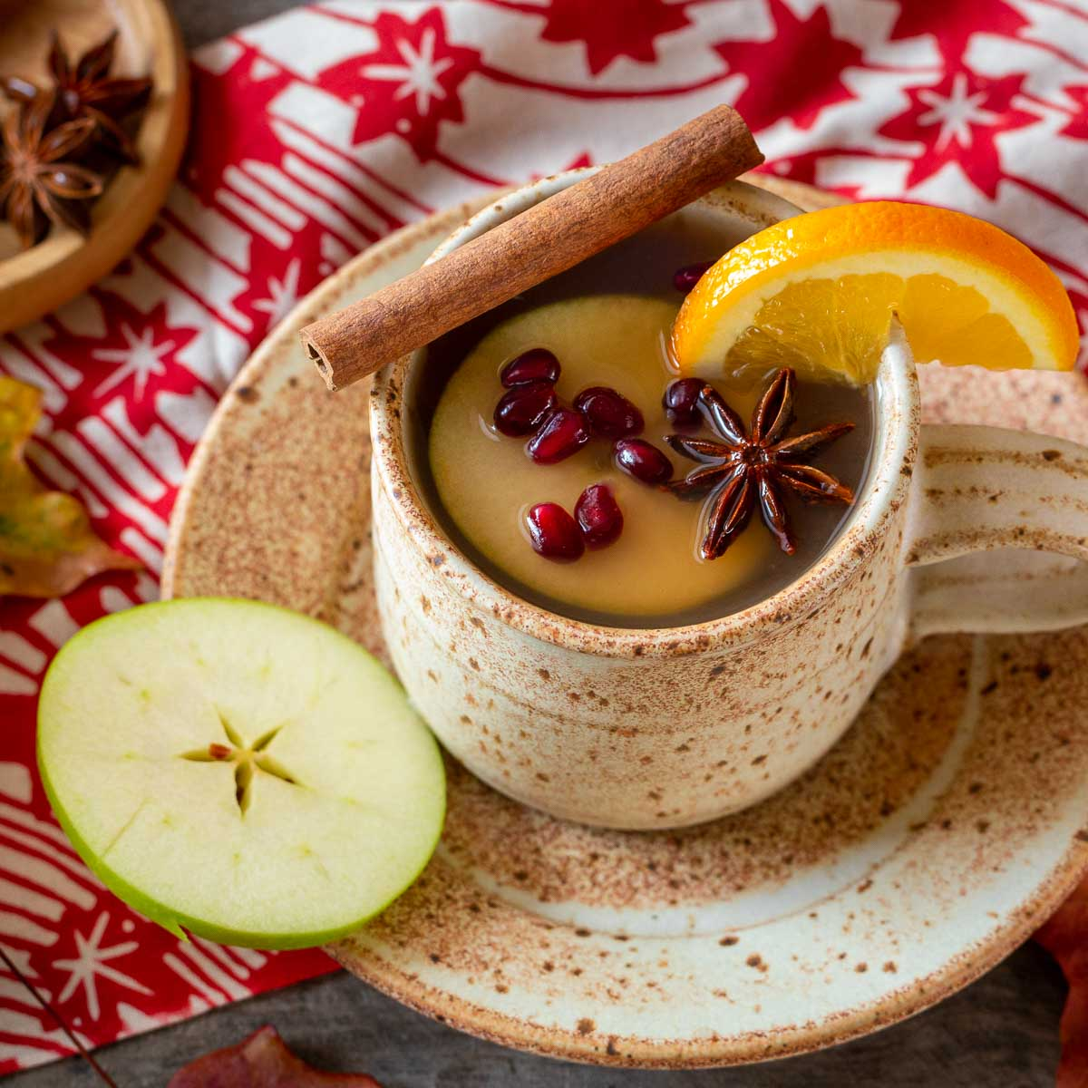 Homemade apple cider in a pottery cup garnished with a cinnamon twill, star anise, orange and pomegranate seeds.s.