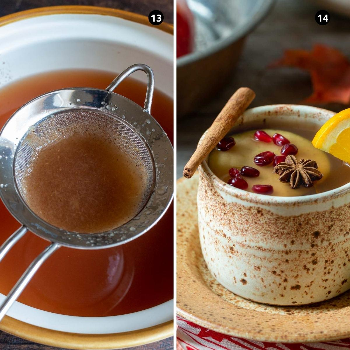 Straining homemade apple cider and garnished with cinnamon sticks and fresh apples.