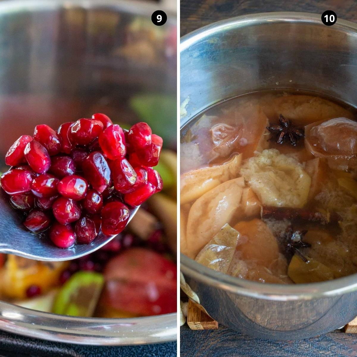 Pomegranates added and cooked apple cider.