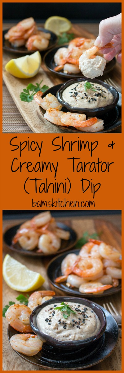 Spicy Shrimp with Creamy Tarator Dip / http://bamskitchen.com