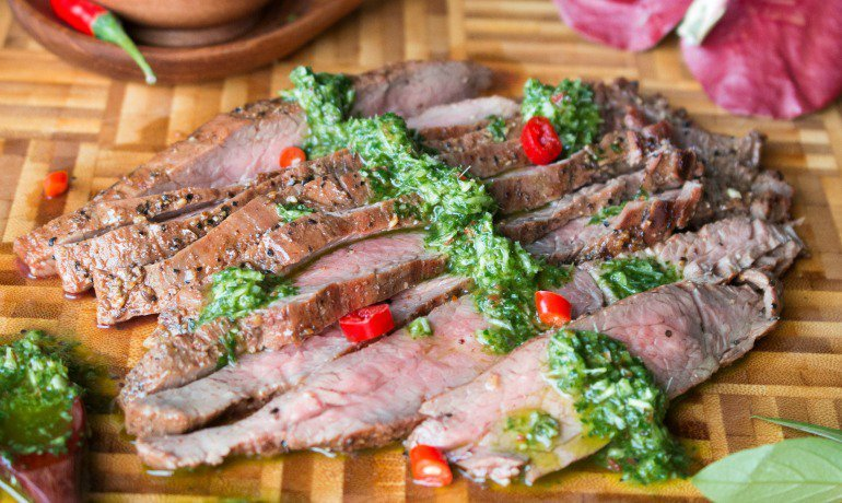 Grilled Flank Steak with Thai Style Chimichurri - Bam's Kitchen