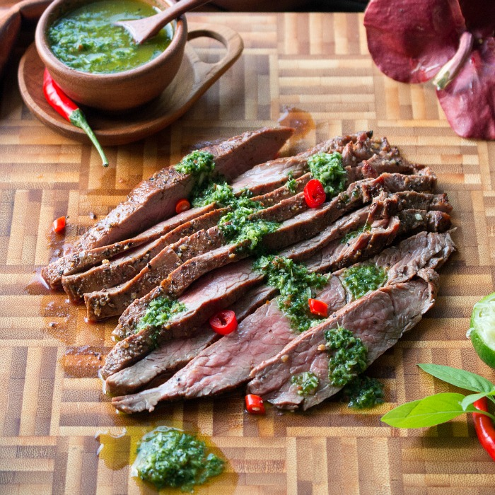 Grilled Flanks Steaks with thai Style Chimichurri / https://www.hwcmagazine.com