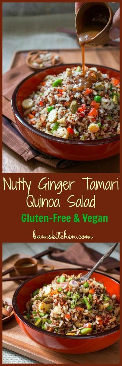 Nutty Ginger Tamari Quinoa Salad / http://bamskitchen.com