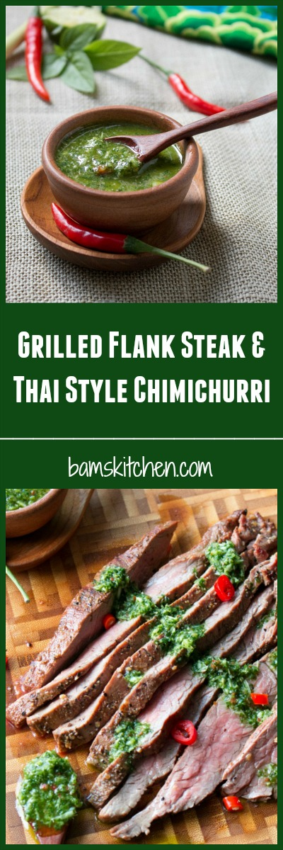 Grilled Flanks Steaks with thai Style Chimichurri / http://bamskitchen.com