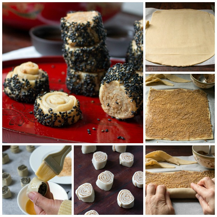 Step by step how to roll out and roll up the sesame cookies.