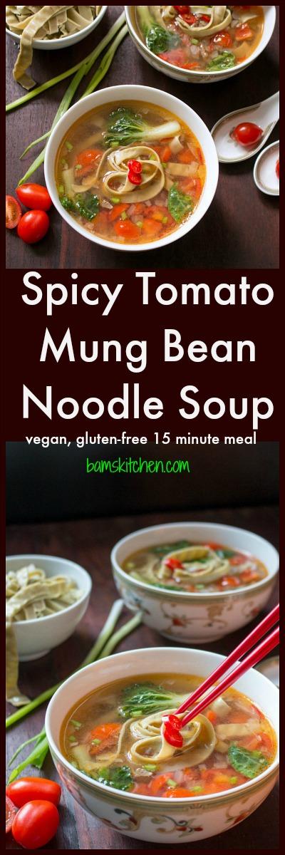 Spicy Tomato Mung Bean Noodle Soup / http://bamskitchen.com
