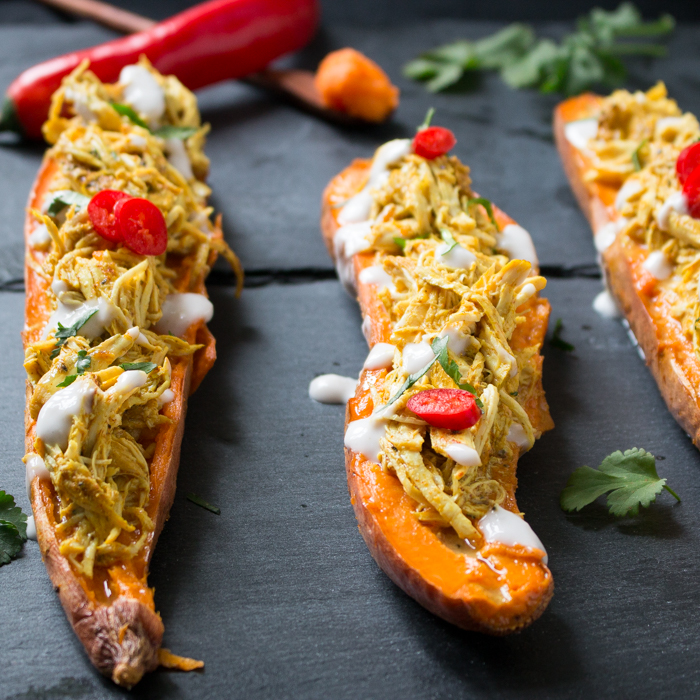 Pull Apart Tandoori Chicken Sweet Potato Skins / https://www.hwcmagazine.com