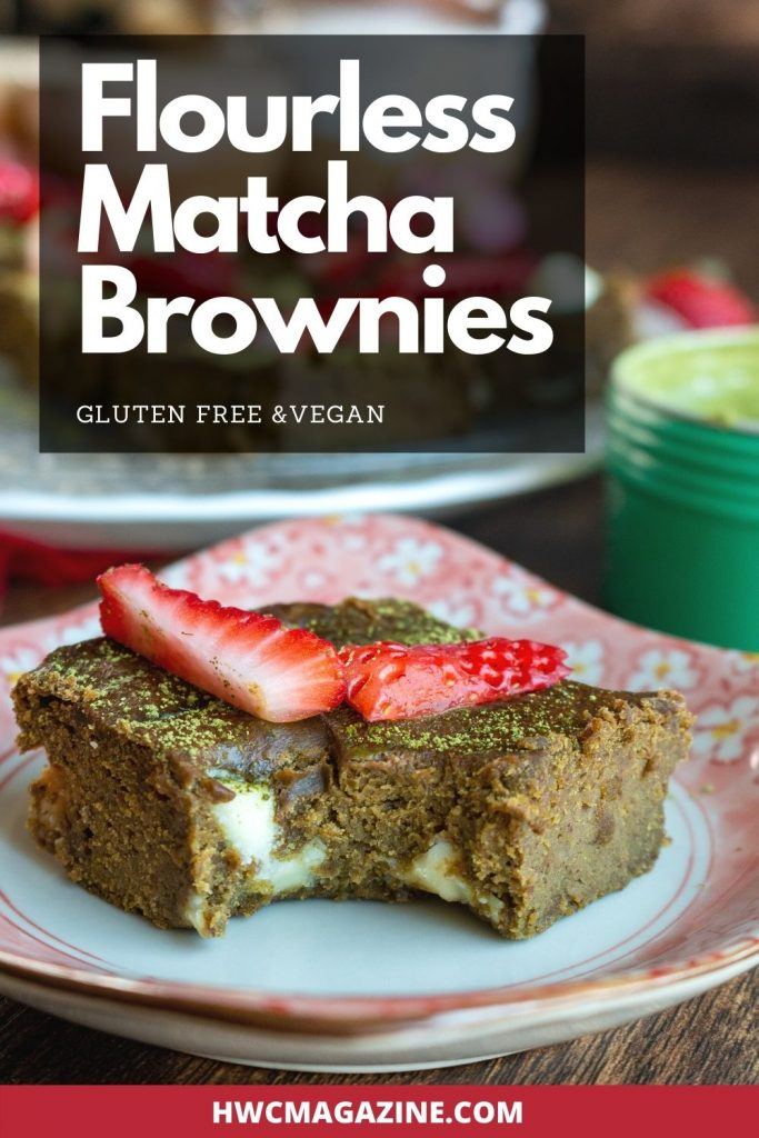 Flourless Matcha Brownies with a big bite out of one.