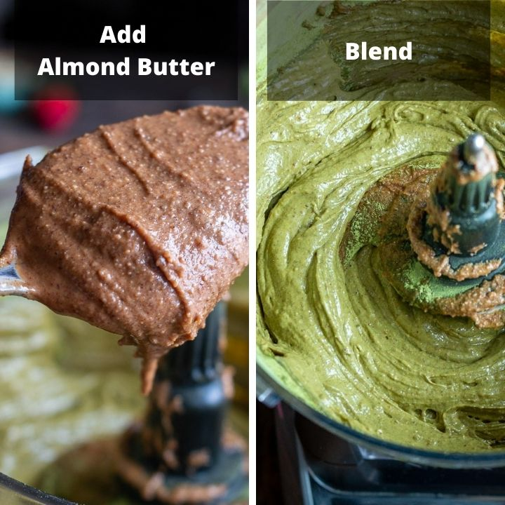 Step 3, add almond butter and blend.