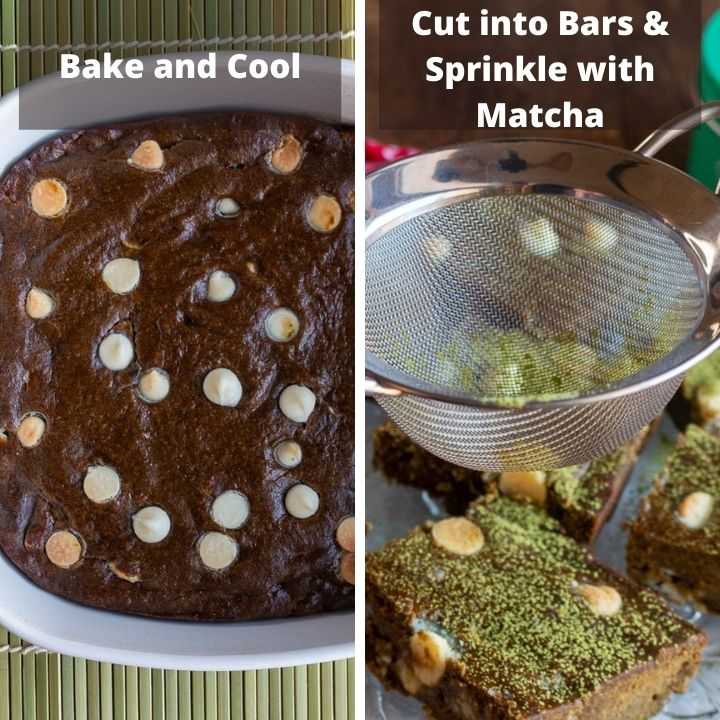 Bake matcha brownies, cool and dust with matcha powder.