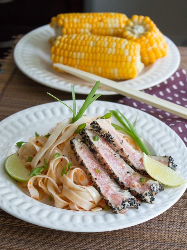 Sesame Ahi Tuna with Chili Lime Noodles/ http://bamskitchen.com