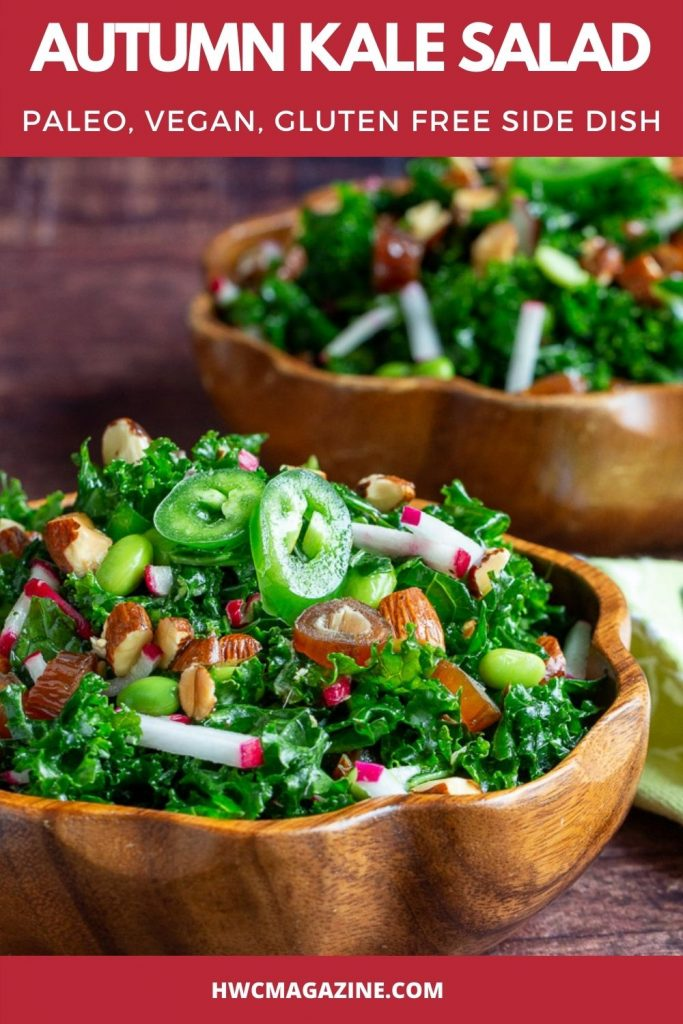 Two bowls of delicious fall salad tossed with vegetables, almonds and dates.
