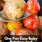 One pan Easy baby potatoes and tomatoes held in a spoon over a pan.