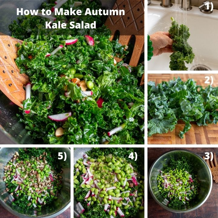 Step by step how to make kale salad.