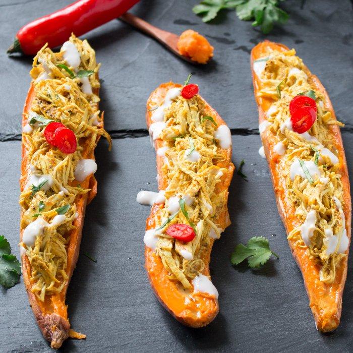 Pull Apart Chicken Tandoori Sweet Potato Skins / https://www.hwcmagazine.com
