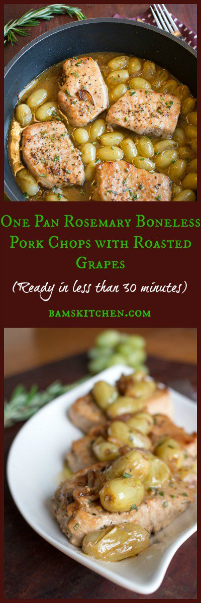 One Pan Rosemary Boneless Pork Chops with Roasted Grapes / https://www.hwcmagazine.com