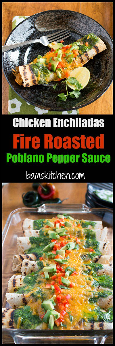 Chicken Enchiladas with Fire Roasted Poblano Peppers / http://bamskitchen.com