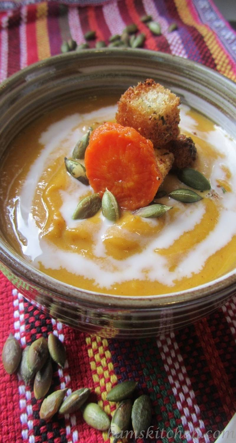 Roasted Butternut Squash and Carrot Ginger Soup / http:bamskitchen.com