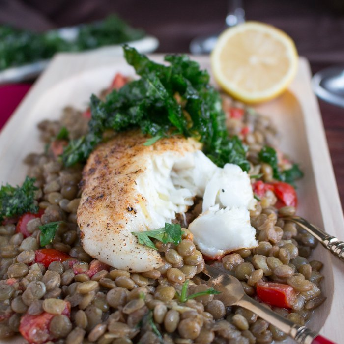 Baked Tilapia with Caramelized Onion Lentils / http://bamskitchen.com