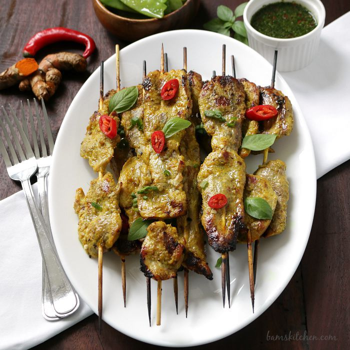 Turmeric Pork skewers with Thai Basil Dipping Sauce / http://bamskitchen.com