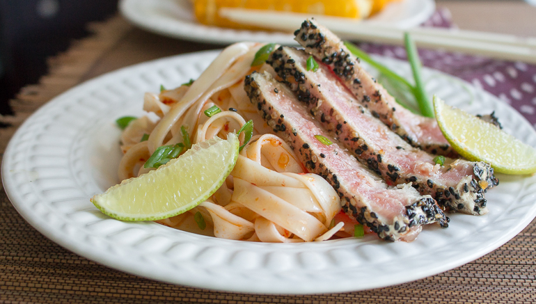 Sesame Ahi Tuna with Chili Lime Noodles - Healthy World ...