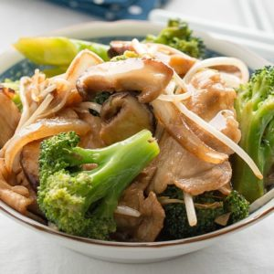 Pork and broccoli stir fry.