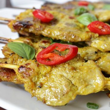 Turmeric pork skewers.