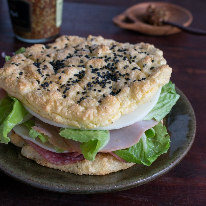 Cloud Bread made into a sandwich.
