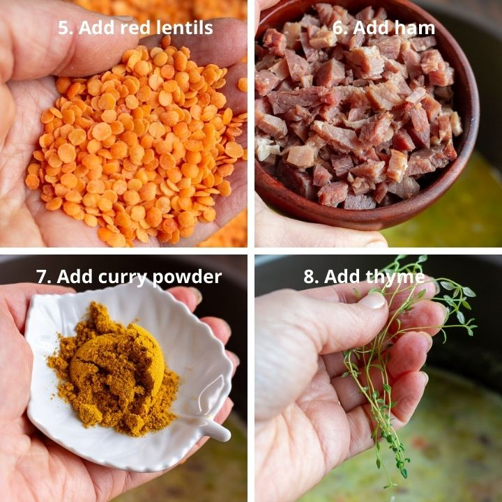 Adding red lentils, ham, curry powder and thyme to the soup pot.
