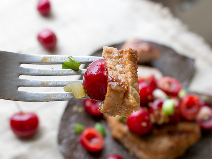 Grilled Five Spice Pork Loin Chops with Cherry Ginger Salsa / https://www.hwcmagazine.com