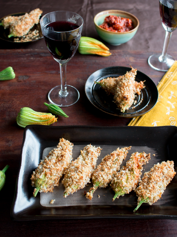 Baked Ricotta Stuffed Zucchini Blossoms / https://www.hwcmagazine.com